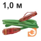 Патч-корд UTP, Категория 5е, 1 метр зеленый, LSZH, пр-во Hyperline (PC-LPM-UTP-RJ45-RJ45-C5e-1M-LSZH-GN)